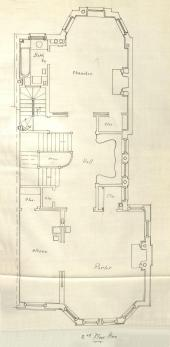 Second floor plan of 365 Marlborough, bound with the final building inspection report , 13Aug1888 (v. 24, p. 90); Boston City Archives