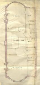 Floor plan of 388 Marlborough (probably second floor), bound with the final building inspection report , 15Dec1885 (v. 14, p. 15); courtesy of the Boston Public Library Arts Department
