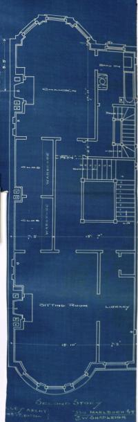 Second floor plan of 394 Marlborough, bound with the final building inspection report, 29Oct1886 (v. 16, p. 15); Boston City Archives