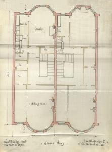 Second floor plans of 395-397 Massachusetts, bound with the final building inspection report for 393 Marlborough, 4Jan1889 (v. 27, p. 114); Boston City Archives
