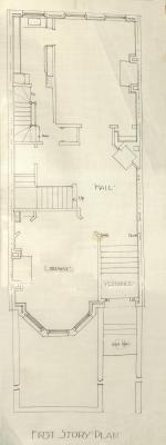 First floor plan of 398 Marlborough, bound with the final building inspection report, 26Dec1888 (v. 27, p. 28); courtesy of the Boston Public Library Arts Department