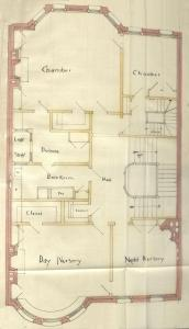 Floor plan of 401 Marlborough (probably third floor), bound with the final building inspection report , 15Dec1886 (v. 17, p. 40); Boston City Archives
