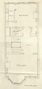Second floor plan of 402 Marlborough, bound with the final building inspection report, 26Dec1888 (v. 27, p. 30); Boston City Archives