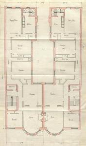 Typical floor plan of 405-407 Marlborough, bound with the final building inspection report for 405 Marlborough, 29Oct1889 (v. 31, p. 151); Boston City Archives