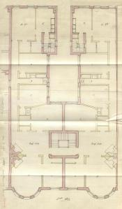 Second floor plan of 409 Marlborough, bound with the final building inspection report, 21Oct1891 (v. 41, p. 53); courtesy of the Boston Public Library Arts Department