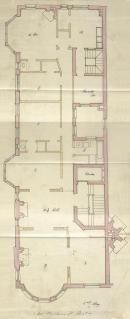 Second floor plan of 411 Marlborough, bound with the final building inspection report, 21Oct1891 (v. 41, p. 52); Boston City Archives