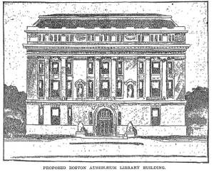 Architect's rendering of proposed Boston Athenaeum Building at 13-15 Arlington, May 1902