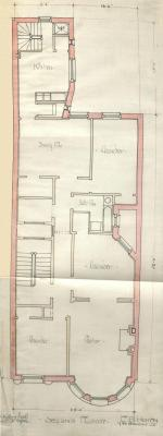 Second floor plan of 499 Beacon, bound with the final building inspection report, 12Apr1889 (v. 29, p. 20); courtesy of the Boston Public Library Arts Department