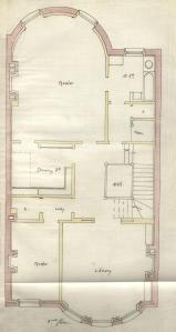 Second floor plan of 501 Beacon, bound with the final building inspection report, 12Apr1889 (v. 29, p. 19); courtesy of the Boston Public Library Arts Department