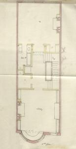 Second floor plan of 503 Beacon, bound with the final building inspection report, 24Nov1888 (v. 26, p. 27); Boston City Archives