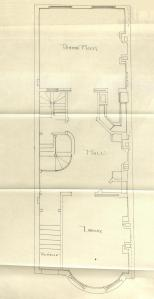 First floor plan of 507 Beacon, bound with the final building inspection report,  15Nov1887 (v. 21, p. 80); courtesy of the Boston Public Library Arts Department