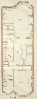 Second floor plan of 508 Beacon, bound with the final building inspection report, 1Oct1891 (v. 41, p. 1); courtesy of the Boston Public Library Arts Department