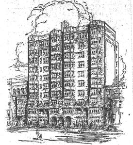Drawing of the Maryland Apartments from a January, 1925, mortgage bond offering advertisement by S. W. Straus & Co.