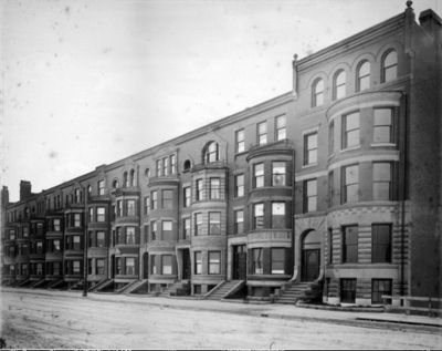 531 Beacon, looking east towards 517 Beacon; (ca. 1890) photograph by Augustine H. Folsom, courtesy of the Boston Athenaeum