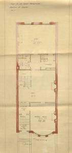 First floor plan of 526 Beacon, bound with the final building inspection report, 9Jul1896 (v. 77, p. 61); Boston City Archives