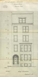 Front elevation of 526 Beacon, bound with the final building inspection report, 9Jul1896 (v. 77, p. 61); courtesy of the Boston Public Library Arts Department