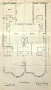 Second floor plan of 527-529 Beacon, bound with the final building inspection report, 14Nov1887 (v. 21, p. 61); courtesy of the Boston Public Library Arts Department
