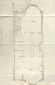 Second floor plan of 531 Beacon, bound with the final building inspection report, 24Nov1888 (v. 26, p. 29); courtesy of the Boston Public Library Arts Department