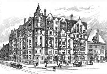 4 Charlesgate East (535 Beacon), J. Pickering Putnam's rendering; American Architect and Building News (Apr1891)