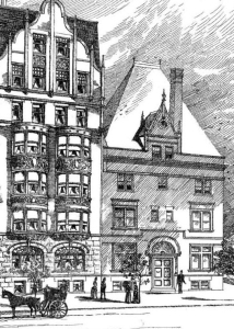 Detail of 10 Charlesgate East from J. Pickering Putnam's rendering of The Charlesgate at 4 Charlesgate East; American Architect and Building News (4Apr1891)