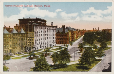Colorized photographic postcard of 371-381 Commonwealth (ca. 1900), showing Commonwealth Avenue before it was widened and straightened ca. 1918; courtesy of Historic New England