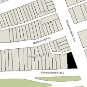 Irregular Lot: 63.09' on Commonwealth and 124.5' on Massachusetts Avenue (5,026 sf)