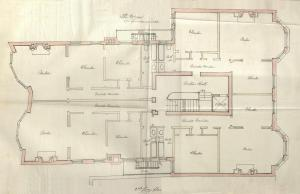 Second floor plan of 373 Commonwealth, bound with the final building inspection report, 27Jan1895 (v. 59, p.. 142); courtesy of the Boston Public Library Arts Department
