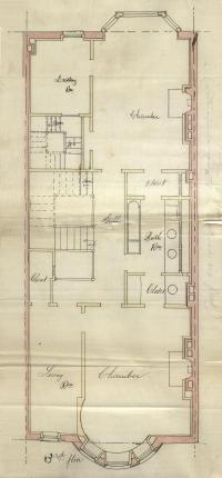 Third floor plan of 375 Commonwealth, bound with the final building inspection report, 1May1893 (v. 52, p. 78); courtesy of the Boston Public Library Arts Department