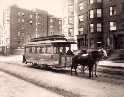 Horse-drawn street car on Marlborough, with 421 Marlborough in the background (ca. 1900), photograph by Nathaniel Livermore Stebbins; courtesy of the Boston Athenaeum