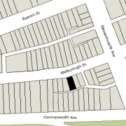 Irregular Lot: By two lines on Marlborough, 21.11' and 1.11' (1,794 sf)