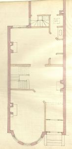 First floor plan of 443 Marlborough, bound with the final building inspection report, 13Nov1886 (v. 16, p. 50); courtesy of the Boston Public Library Arts Department
