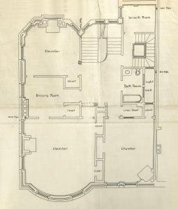 Floor plan of 24 Charlesgate East (probably second floor), bound with the final building inspection report , 10Oct1892 (v. 47, p. 42); courtesy of the Boston Public Library Arts Department