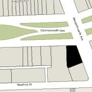 Irregular Lot: 61.91' on Commonwealth and 121.64' on Massachusetts Avenue (10,972 sf)