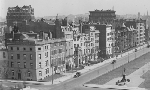 North side of Commonwealth, looking east from Charlesgate East; detail from photograph taken March 24, 1923, by Leslie Jones, courtesy of the Boston Public Library, Leslie Jones Collection