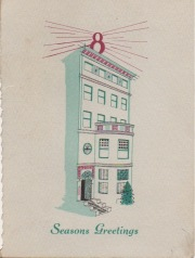 "Drawing of 395 Commonwealth; 1956 Christmas card from the Hearthstone Insurance Company, from the collections of Helen and Dante ""Joe"" Balboni"