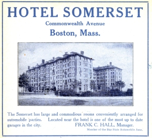 Advertisement for the Hotel Somerset, 1910 Automobile Blue Book