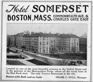 Advertisement for the Hotel Somerset, 1922 Automobile Blue Book