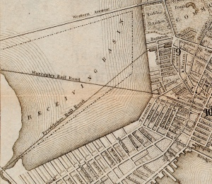 Detail from an 1853 map of Boston by George W, Boynton, courtesy of the Norman B. Leventhal Map Center at the Boston Public Library.