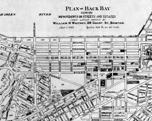 Detail from 1888 plan of the Back Bay; by William H. Whitney; courtesy of the Bostonian Society