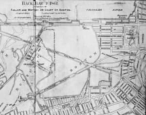 Detail from 1861 plan of the Back Bay; A Set of Plans Showing the Back Bay 1814-1881, by Fuller and Whitney; courtesy of the Boston Athenaeum