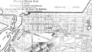 Detail from 1881 plan of the Back Bay; A Set of Plans Showing the Back Bay 1814-1881, by Fuller and Whitney; courtesy of the Boston Athenaeum