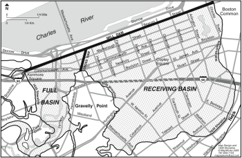 Map of the Back Bay showing current streets, the 1630 shoreline, and the mill dam and cross dam; provided by MapWorks, as appeared in Boston's Back Bay by William A. Newman and Wilfred E. Holton, p. viii (map copyright MapWorks 2005).