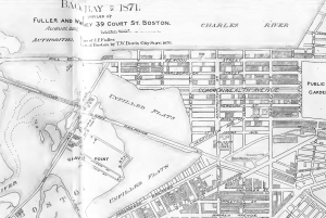 Detail from 1871 plan of the Back Bay; A Set of Plans Showing the Back Bay 1814-1881, by Fuller and Whitney