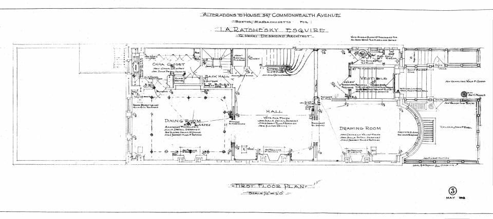 Comm 347 - First Floor Plan (1912) - BPL - Blueprint - BW