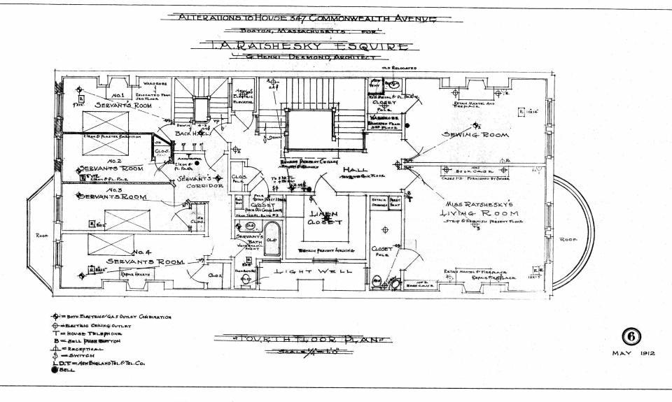 Comm 347 - Fourth Floor Plan (1912) - BPL - Blueprint - BW