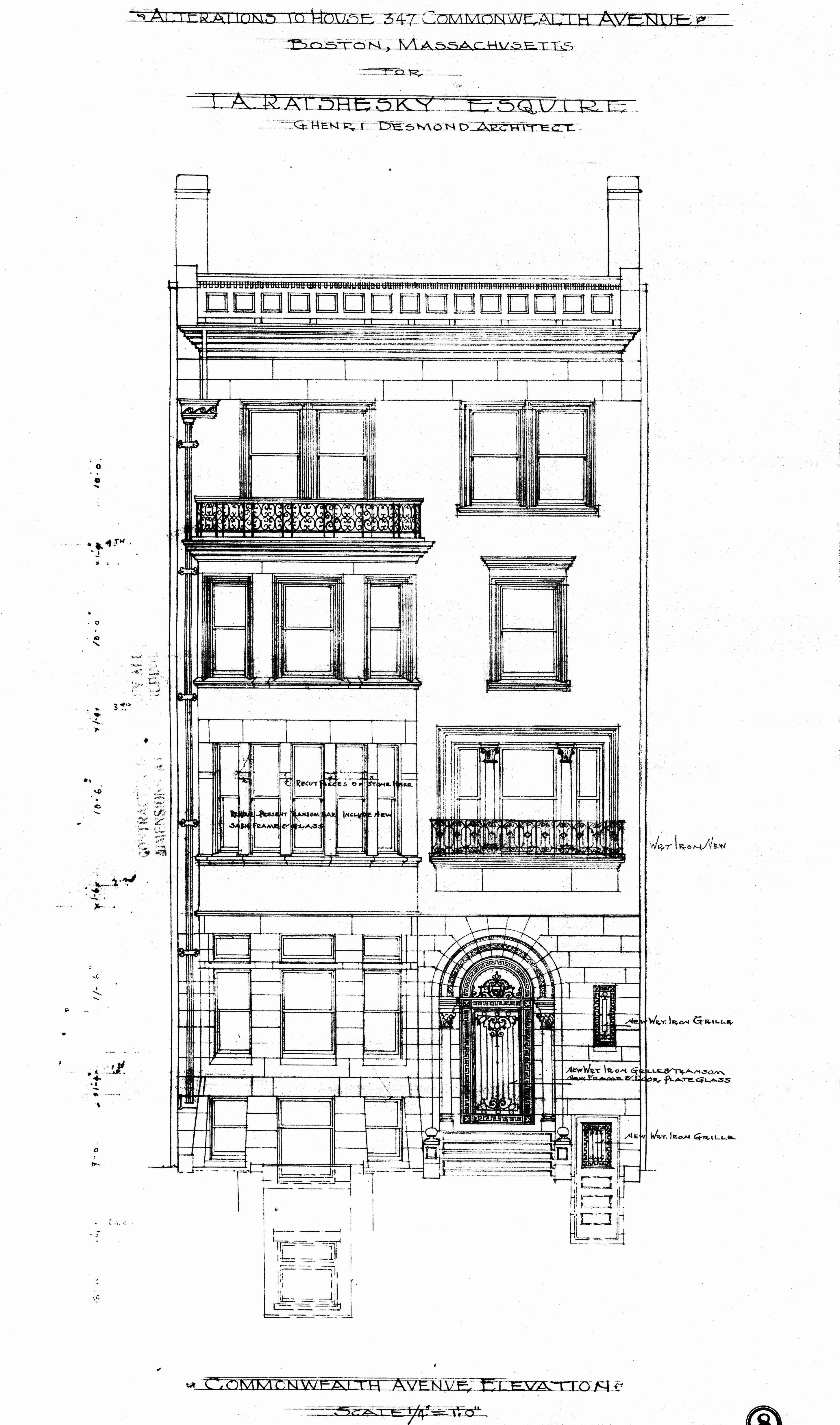 Architectural plans 347 commonwealth remodeling 1912 back comm 347 front elevation 1912 bpl blueprint bw malvernweather Image collections