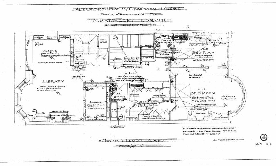 Comm 347 - Second Floor Plan (1912) - BPL - Blueprint - BW