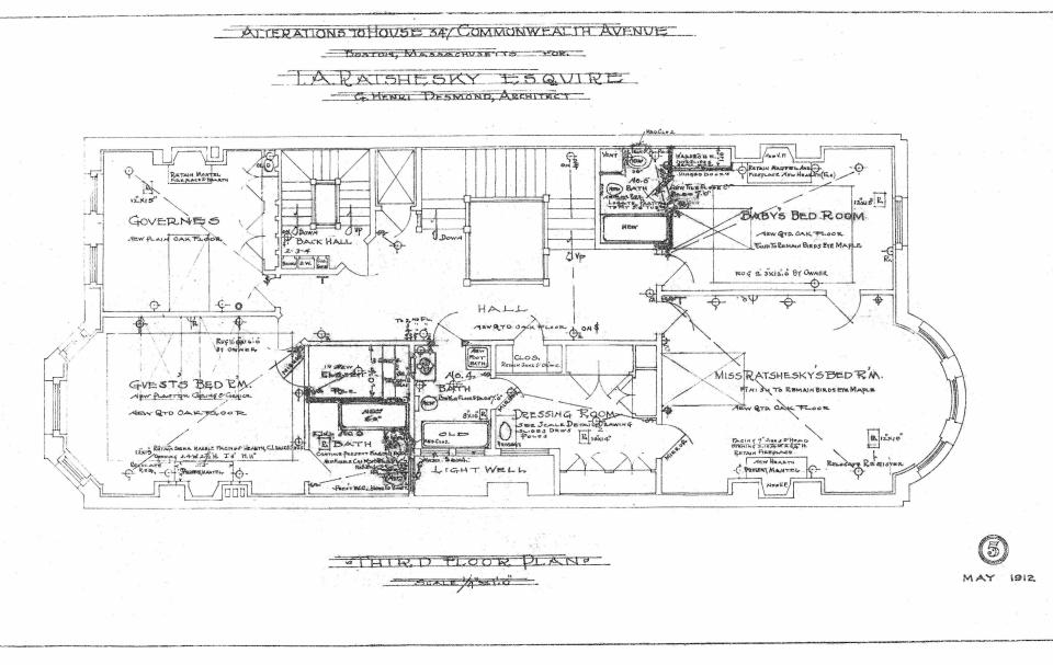 Comm 347 - Third Floor Plan (1912) - BPL - Blueprint - BW