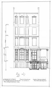 Architectural rendering of the front elevation of 111 Commonwealth, by architect Ogden Codman, Jr., also showing front entrance of 109 Commonwealth; courtesy of the Boston City Archives, City of Boston Blueprints Collection