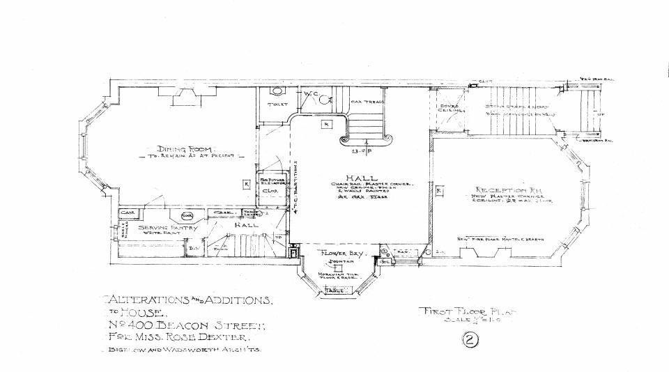 400 Beacon, first floor plan (1910)